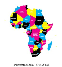 Political map of Africa continent in CMYK colors with national borders and country name labels on white background. Vector illustration.