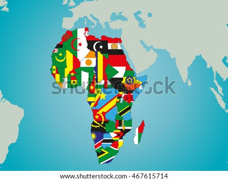 Map Of Africa With Flags.Political Map Africa Flags Stock Vector Royalty Free 467615714