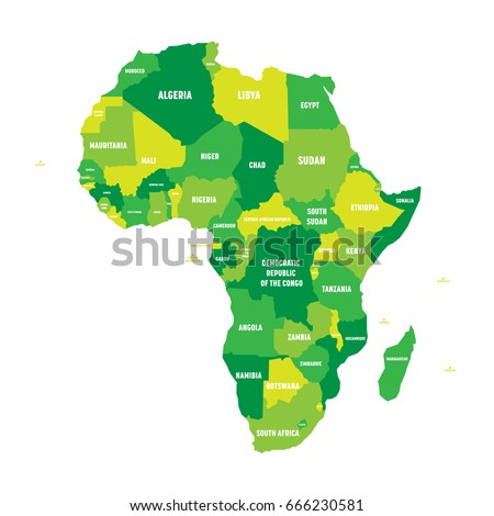 Political Map Africa Four Shades Green Stock Vector Royalty Free