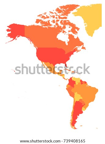 Political Map Americas Four Shades Orange Stock Vector Royalty Free