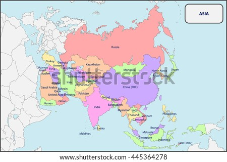 Map Of Asia Without Names.Political Map Asia Names Stock Vector Royalty Free 445364278