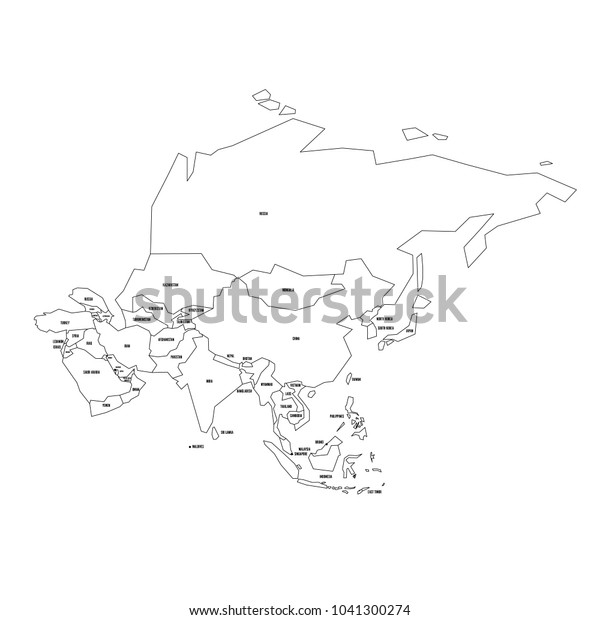 Black Map Of Asia.Political Map Asia Simplified Thin Black Stock Vector Royalty Free