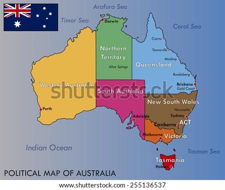 Political Map Australia Stock Vector (Royalty Free) 255136537 ...