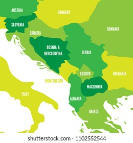 Political map of Balkans - States of Balkan Peninsula. Four shades of green vector illustration.