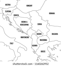 Political map of Balkans - States of Balkan Peninsula. Simple flat black outline with black country name labels.