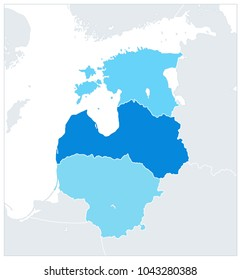 Political Map of the Baltic States In Three Shades of Blue. Vector illustration.