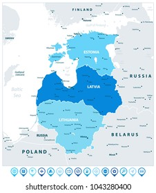 Political Map of the Baltic States In Three Shades of Blue And Navigation Icons. Vector illustration.