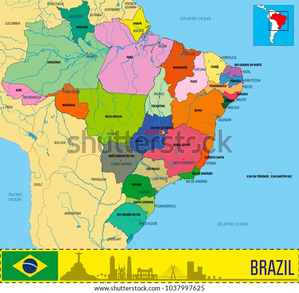 Political Map Brazil Regions Their Capitals Stock Vector ...
