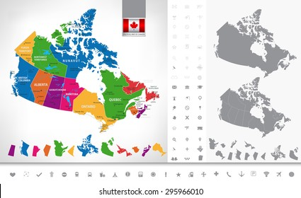 Political map of Canada. Regions and provinces, navigation icons. Highly detailed vector illustration.