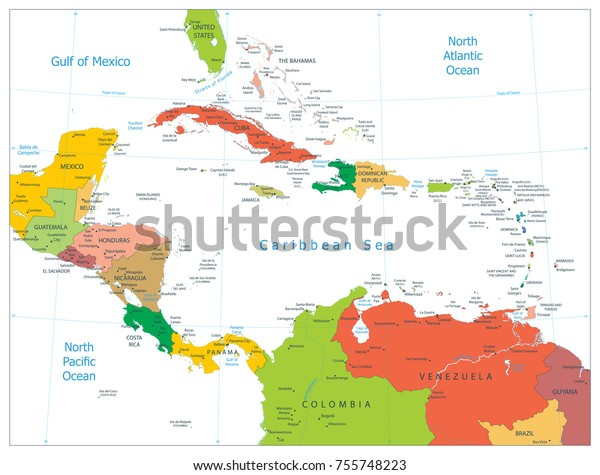 Political Map Caribbean Isolated On White Stock Vector (Royalty Free ...
