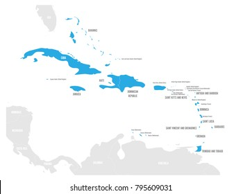 Political map of Carribean. Blue highlighted states and dependent territories. Simple flat vector illustration.