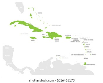 Political map of Carribean. Green highlighted states and dependent territories. Simple flat vector illustration.