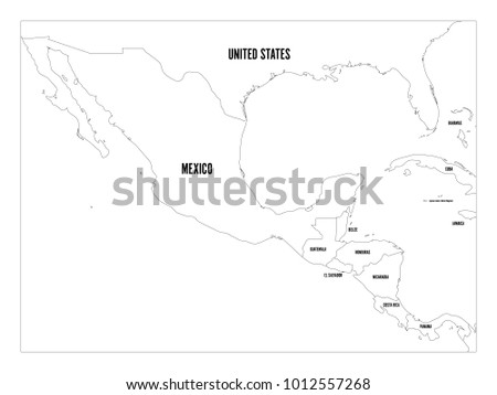 Political Map Central America Mexico Four Stock Vector (Royalty Free ...