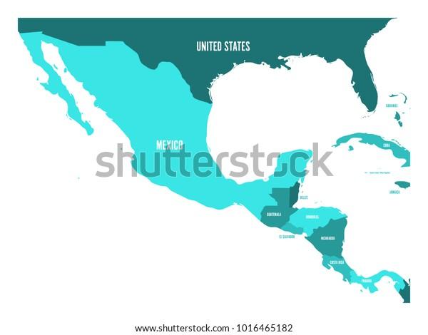 Political Map Central America Mexico Four Stock Vector ...