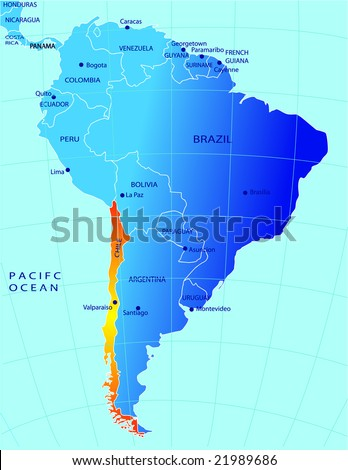 Political Map Chile Stock Vector Royalty Free 21989686 Shutterstock