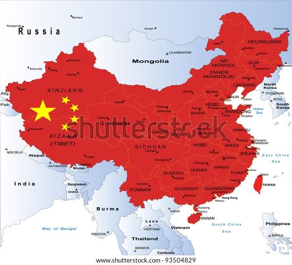 Politisk Kort Over Kina Lagervektor Royaltyfri 93504829