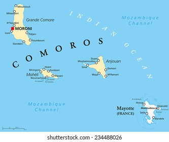 political map of comoros with capital moroni important cities and the islands grande comore