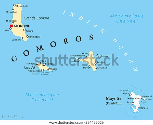 Political Map of Comoros with capital Moroni, important cities and the islands Grande Comore, Moheli and Anjouan. With the archipelago Mayotte, an oversea department of France. English labeling.