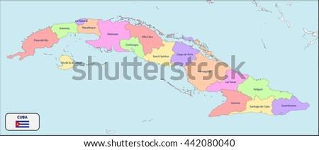 Political Map Cuba Names Stock Vector Royalty Free 442080040