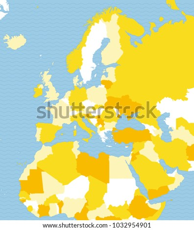 Political Map Europe Africa Middle East Stock Vector (Royalty Free ...