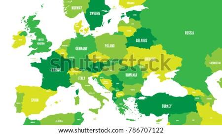 Political Map Europe Caucasian Region Shades Stock Vector Royalty