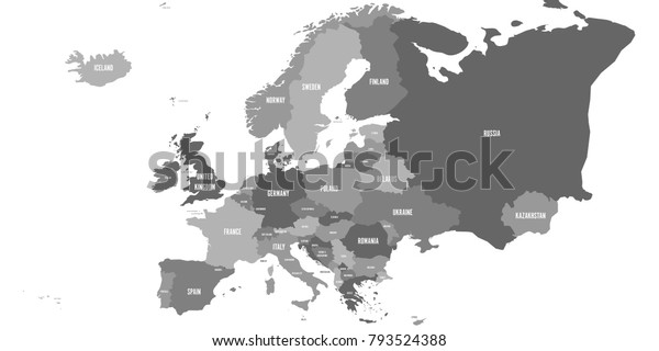 Political Map Europe Continent Four Shades Stock ...