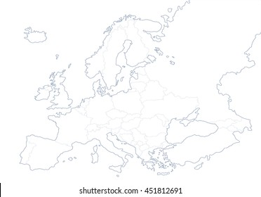 Blank Outline Map Europe Simplified Vector Stock Vector (Royalty ...