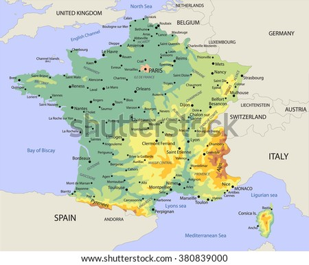 Political Map France Stock Vector Royalty Free 380839000