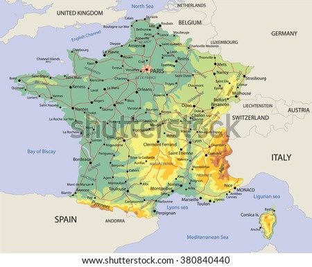 Political Map France Roads Stock Vector Royalty Free 380840440