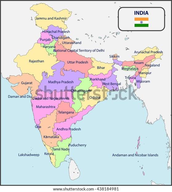 Cartina Dell India Politica.Immagine Vettoriale Stock 438184981 A Tema Mappa Politica Dell India Con I Nomi Royalty Free