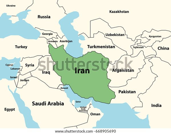 Map Iran And Surrounding Countries Political Map Iran Surrounding Countries Highlighted Stock Vector
