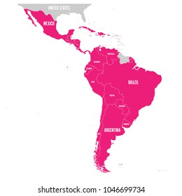 Political map of Latin America. Latin american states pink highlighted in the map of South America, Central America and Caribbean. Vector illustration.