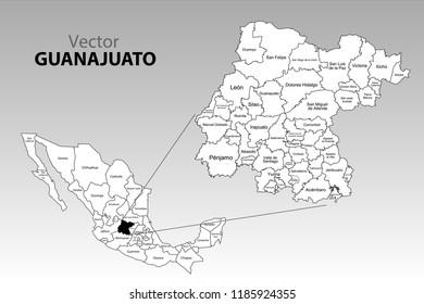 Political Map Mexico Names Stock Vector Royalty Free 1202993824