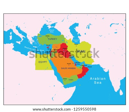 Political Map Middle East Stock Vector (Royalty Free) 1259550598 ...