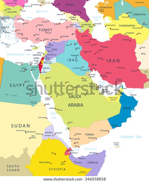 Political Map Middle East Asia Isolated Stock Vector (Royalty Free ...