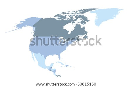 Political Map North America Cold Blue Stock Vector (Royalty Free ...