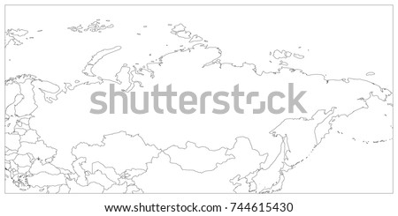Political Map Russia Surrounding Countries Black Stock Vector ...