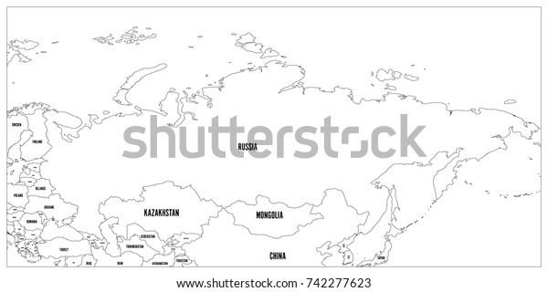 Political Map Russia Surrounding Countries Black Stock ...