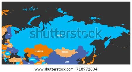 Political Map Russia Surrounding European Asian Stock Vector ...