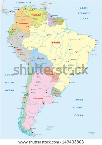Political Map South America Stock Vector Royalty Free 149433803