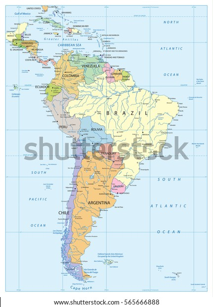 south america lakes map Political Map South America Lakes Rivers Stock Vector Royalty south america lakes map
