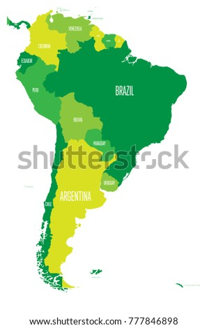 Political Map South America Simple Flat Stock Vector (Royalty Free ...