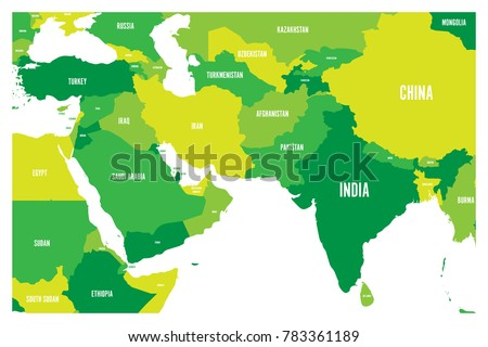 Political Map South Asia Middle East Stock Vector (Royalty Free ...