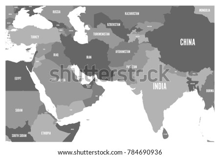 Map Of Asia Middle East.Political Map South Asia Middle East Stock Vector Royalty Free