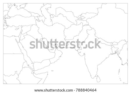 Political Outline Map Of Asia.Political Map South Asia Middle East Stock Vector Royalty Free