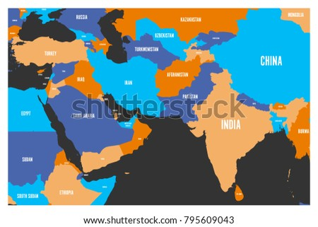 Political Map South East Asia.Political Map South Asia Middle East Stock Vector Royalty Free