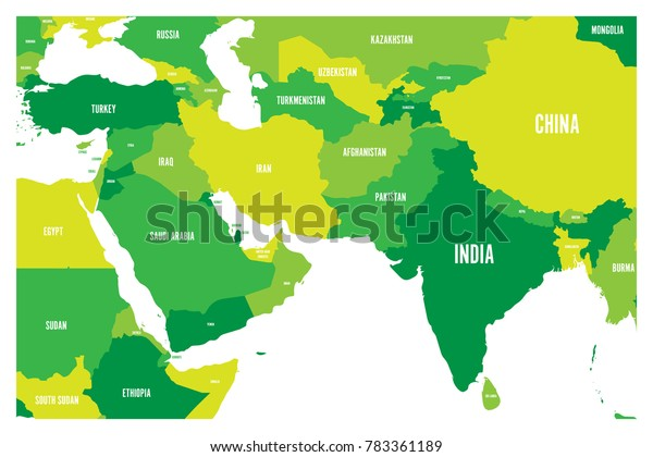 Map Of Asia Labeled With Countries.Political Map South Asia Middle East Stock Vector Royalty Free