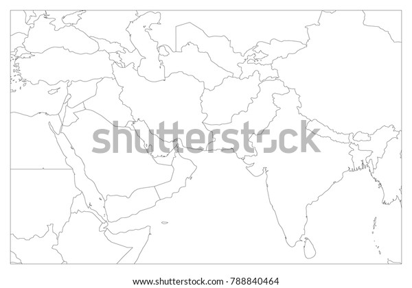 Outline Map Of Asia Political.Political Map South Asia Middle East Stock Vector Royalty Free