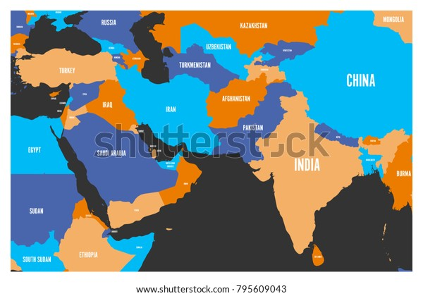 Map Of Asia And Middle East.Political Map South Asia Middle East Stock Vector Royalty Free