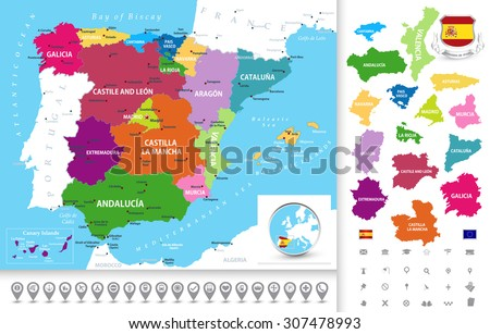 Political Map Spain Administrative Divisions Regions Stock Vector ...